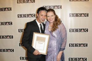 Evan Frankfort and SESAC's Erin Collins at the Award Show